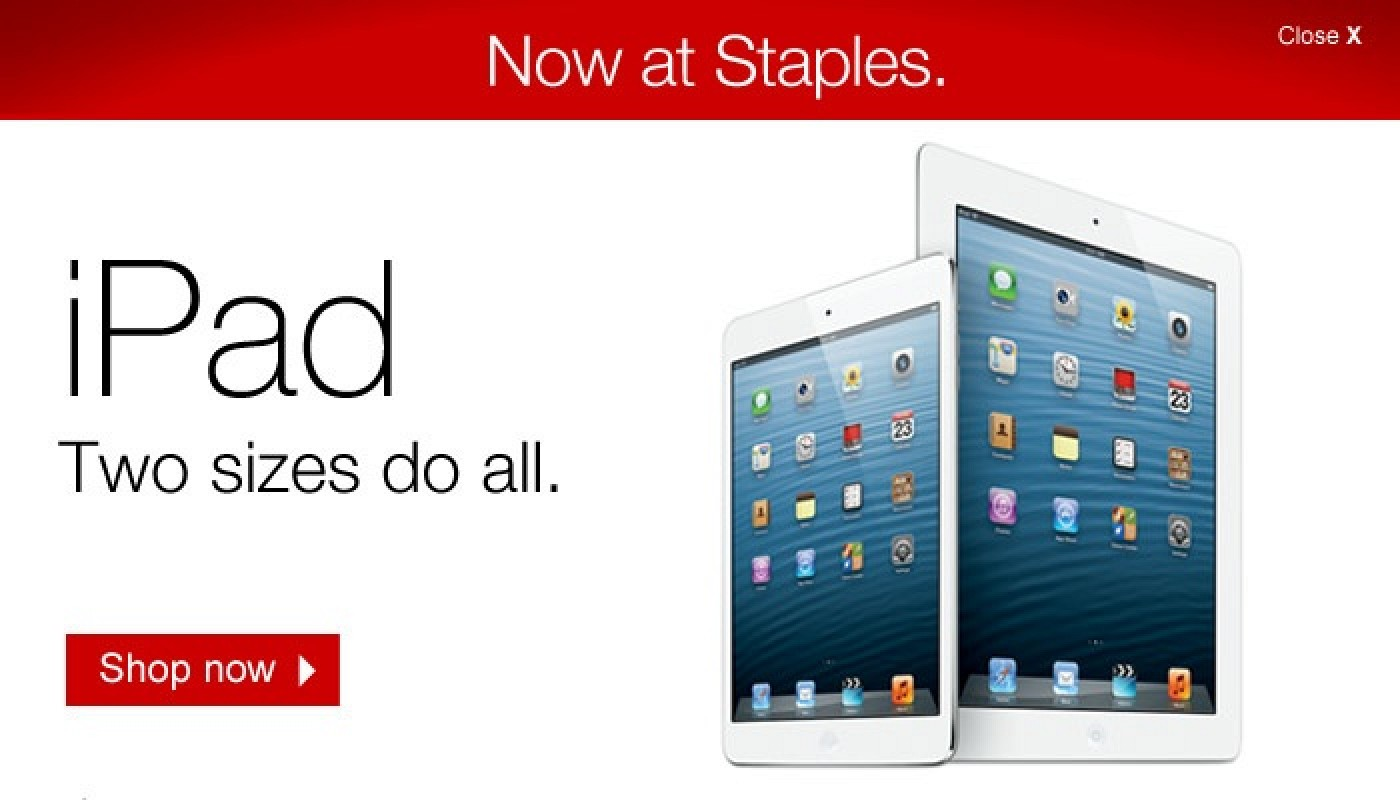 staples now selling ipad ipad mini and ipods in u s online store macrumors. Black Bedroom Furniture Sets. Home Design Ideas