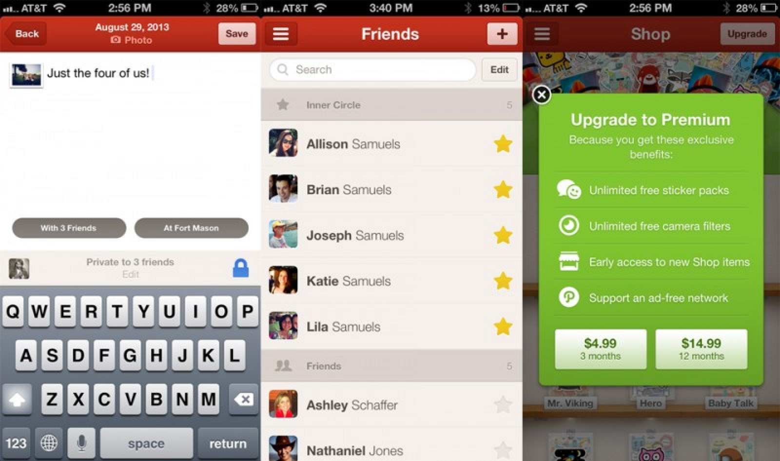 Social Network Path Updating iOS App with Private Sharing, 'Inner