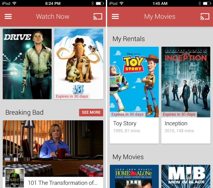Google Launches 'Google Play Movies & TV' App, iOS