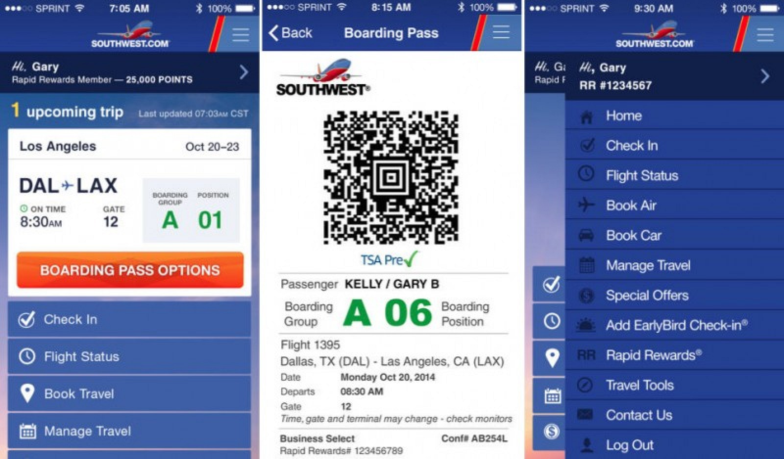 southwest check in email boarding pass