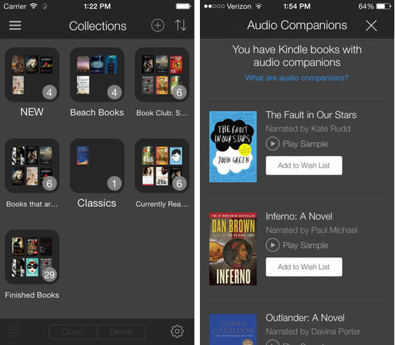 Kindle for iOS Adds Ability to Listen to Audible Books