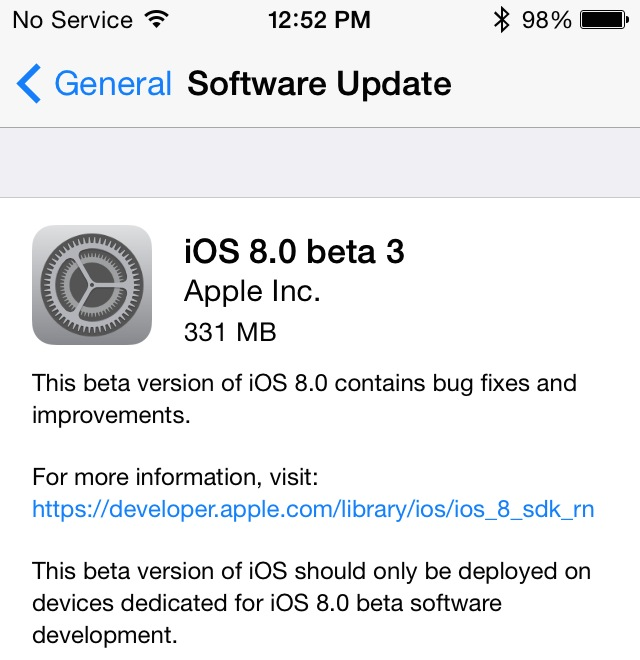 Apple Releases iOS 8 Beta 3 to Developers