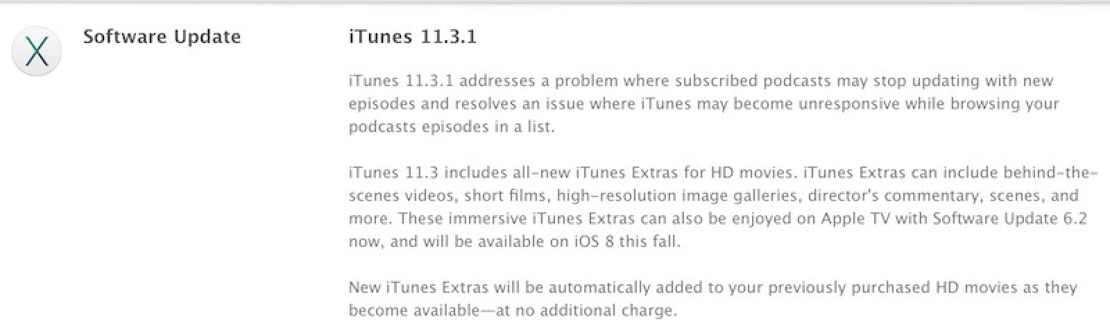 Apple Releases iTunes 11 3 1 With Podcast Bug Fixes - MacRumors