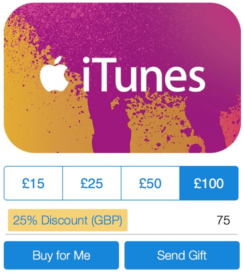 PayPal Offers 25% Off iTunes Gift Cards in the UK - Mac Rumors