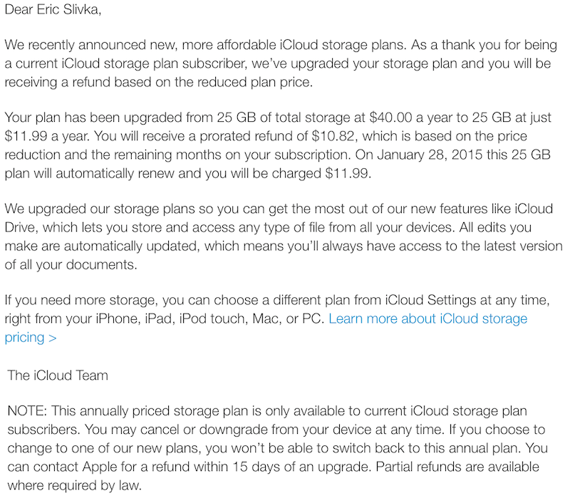 Apple Upgrading Existing iCloud Subscribers to More