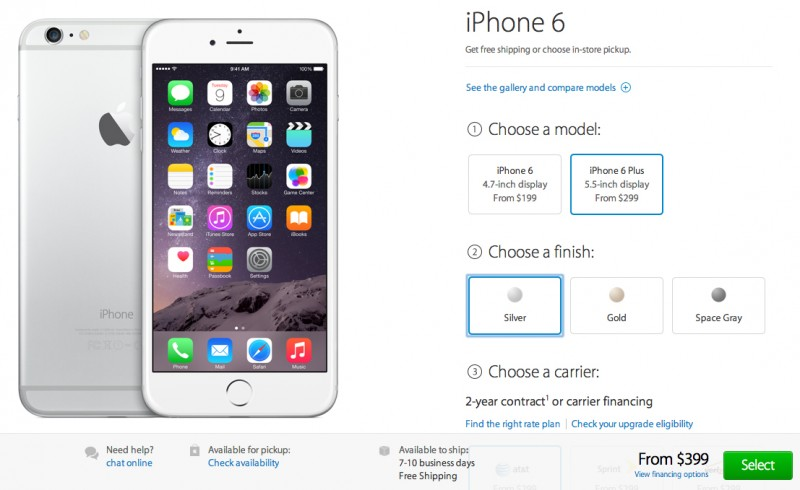 Apple Now Taking Pre Orders For IPhone 6 And Plus Through