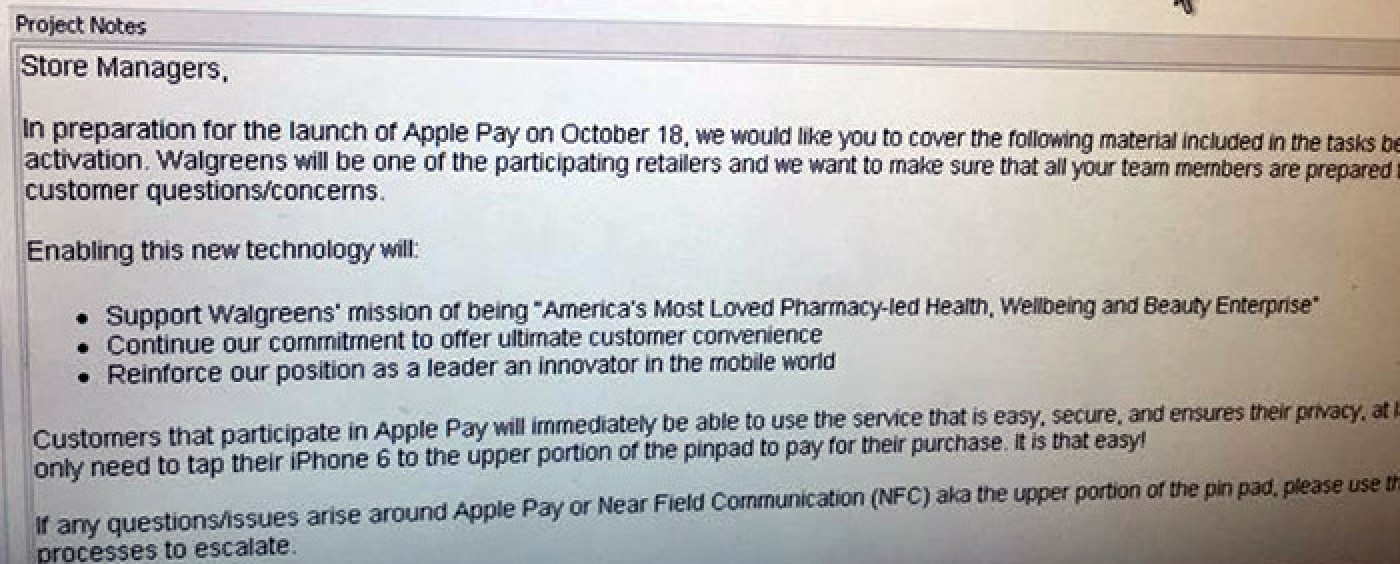 Walgreens Planning for October 18 Apple Pay Launch - Mac Rumors