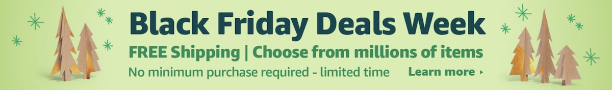 Amazon's banner on Black Friday on a green background with brown-colored Christmas trees.