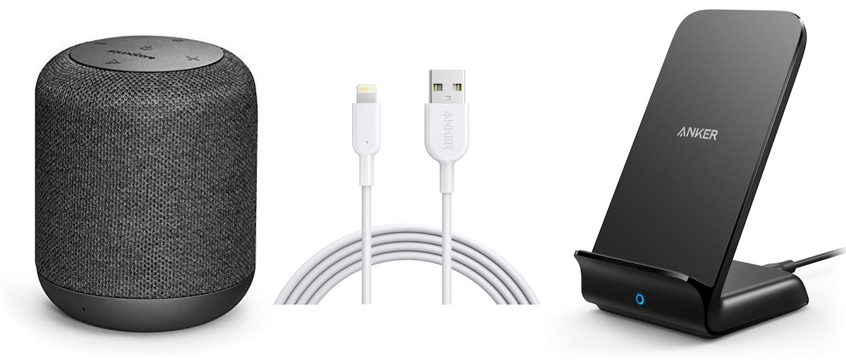 Motion Bluetooth Speaker, Anker Powerline II Lightning Cable (6ft), and PowerWave 10W Stand on a white background.