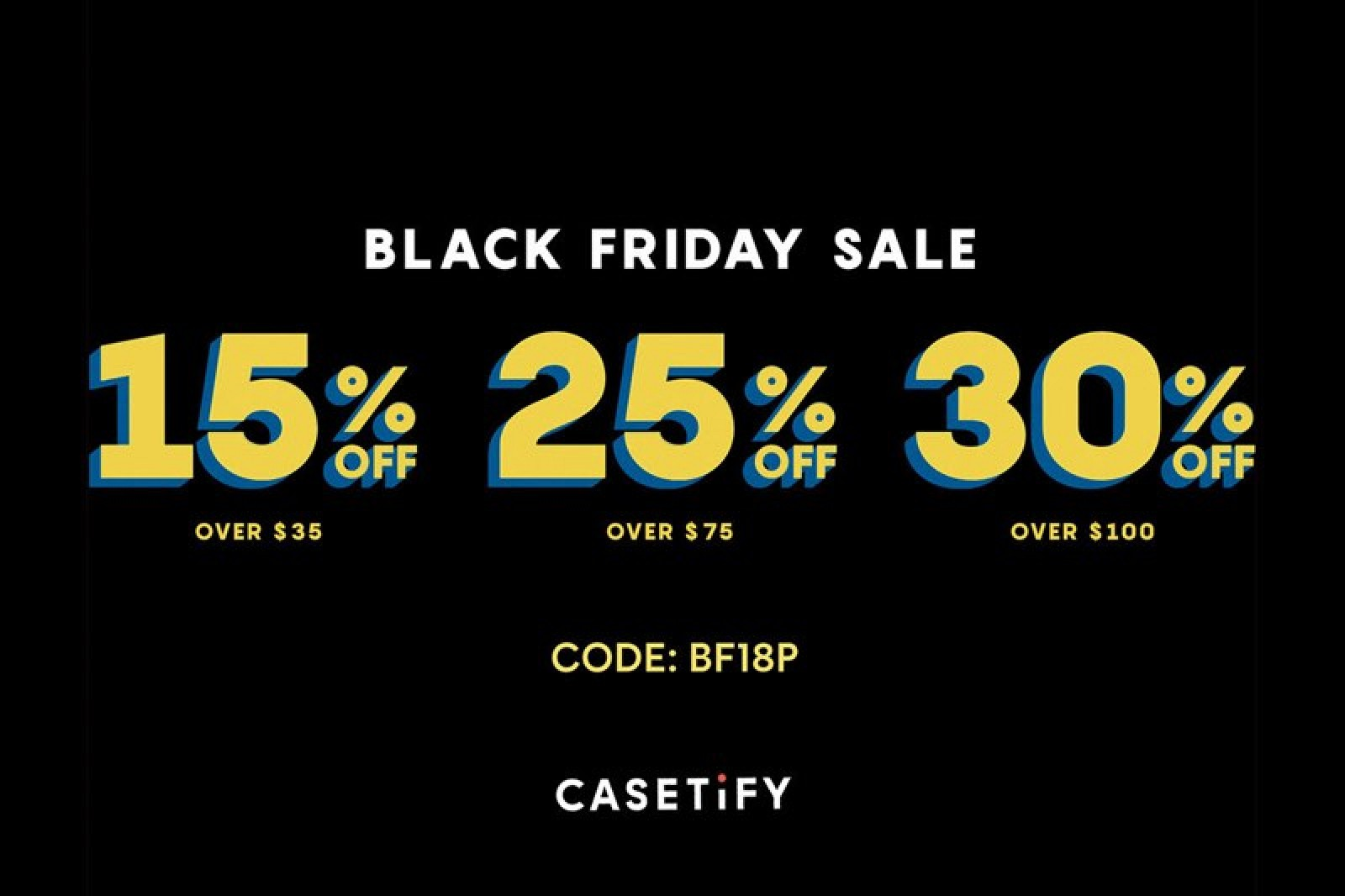 Casetify Black Friday sale banner showing its discounts: 15%, 25%, 30% and its code BF18P.