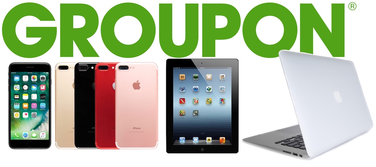 Green Groupon logo is seen with an iPhone 8s with an active screen showing its applications, peach, black, red, and pink iPhone 8s, and a platinum-colored Macbook.