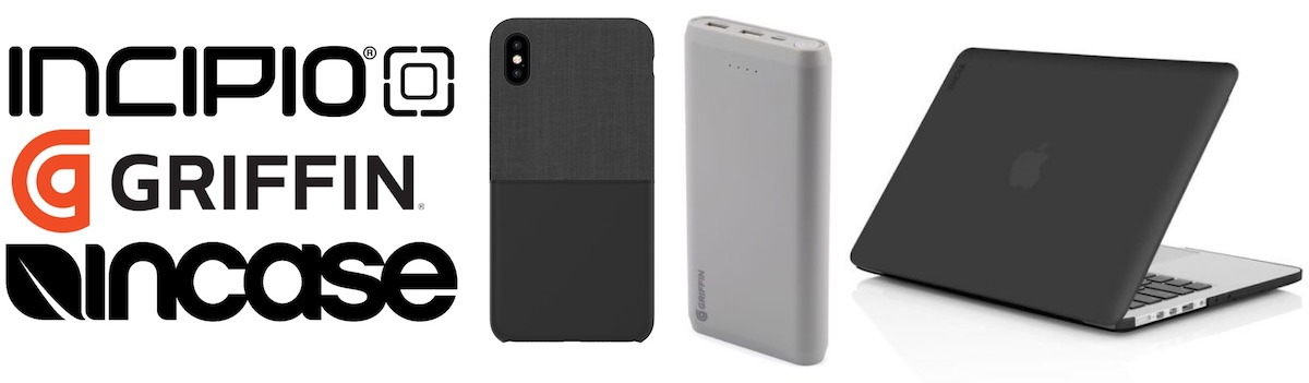 Incipio, Griffin, and Incase logos, together with an iPhone case, power bank, and a macbook, in a white background.