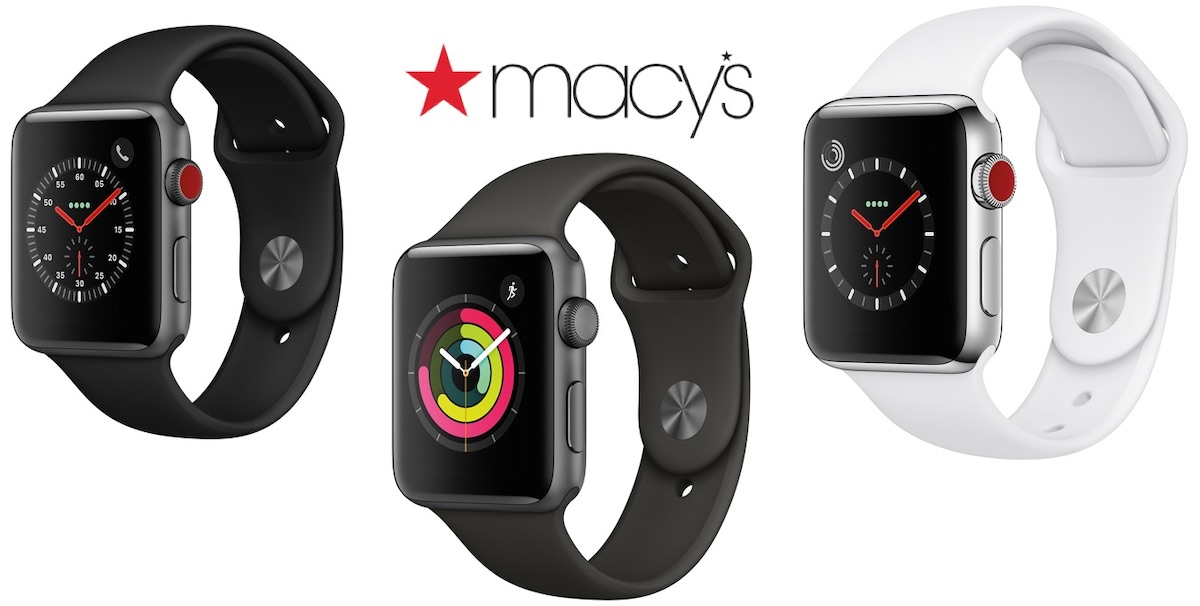 Macy's is selling on a discounted price the black and white apple watches series 3.
