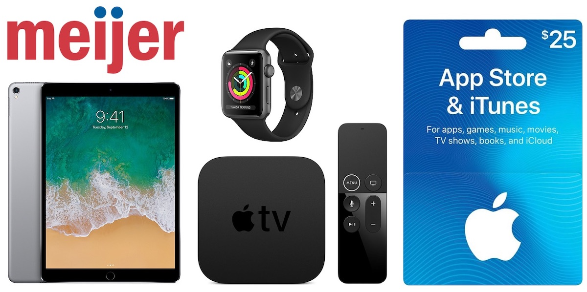 Meijer's 2-day sale:  Apple products 64GB 10.5-inch iPad Pro - $649.99 (regular price) + $125 Meijer coupon for your next purchase  128GB iPad mini 4 - $399.99 (regular price ) + $100 Meijer coupon for your next purchase  Apple TV - Pay $149 or more to get $50 Meijer coupon for your next purchase  32GB iPod touch - $199 (regular price) + $50 Meijer coupon for your next purchase  32GB iPhone SE on Simple Mobile - $79.99, down from $139.99  App Store and iTunes gift cards - $21.25, down from $25.00  Beats Pill+ Speaker - $129.95, down from $179.95