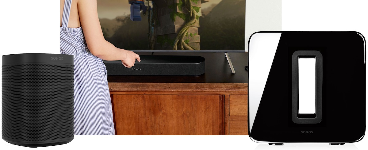 A woman is trying to turn on the Sonos One and Sonos Beam.