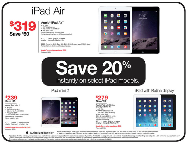 2db5eaa66aa Staples and Radio Shack to Offer Modest Black Friday Discounts on iPads,  iPods, and More