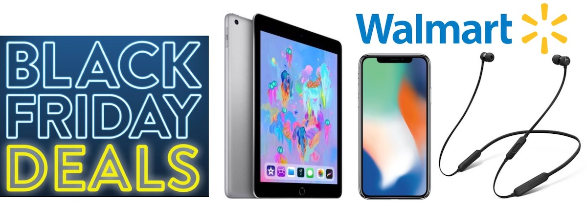 Walmart's Black Friday banner showing an iPad, iPhone XS, and a headset.