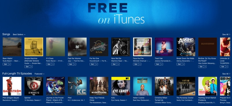 Apple Launches 'Free on iTunes' Section With Free TV and