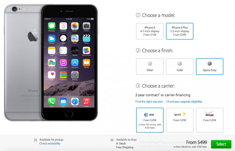 Apples Online Store In US Now Listing All IPhone 6 And Plus