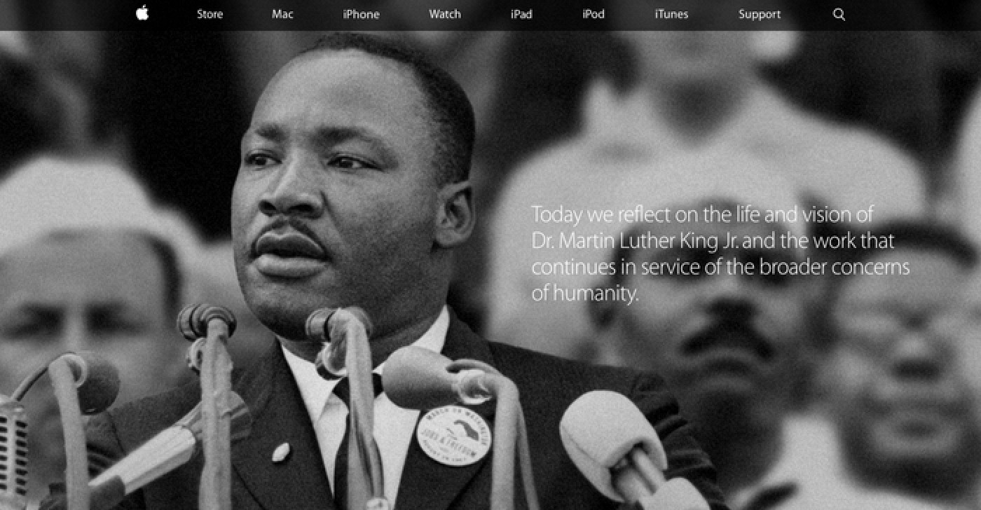 Apple Honors Dr Martin Luther King Jr On Its Home Page Macrumors
