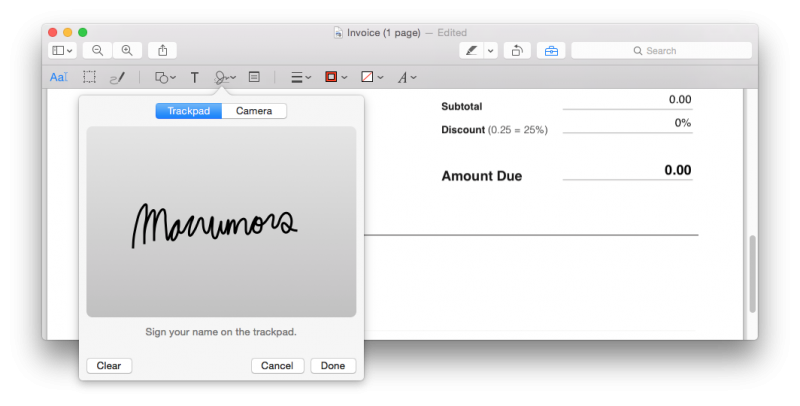 How to electronically sign a pdf using preview on mac mac rumors steps to electronically sign a pdf using trackpad ccuart Image collections