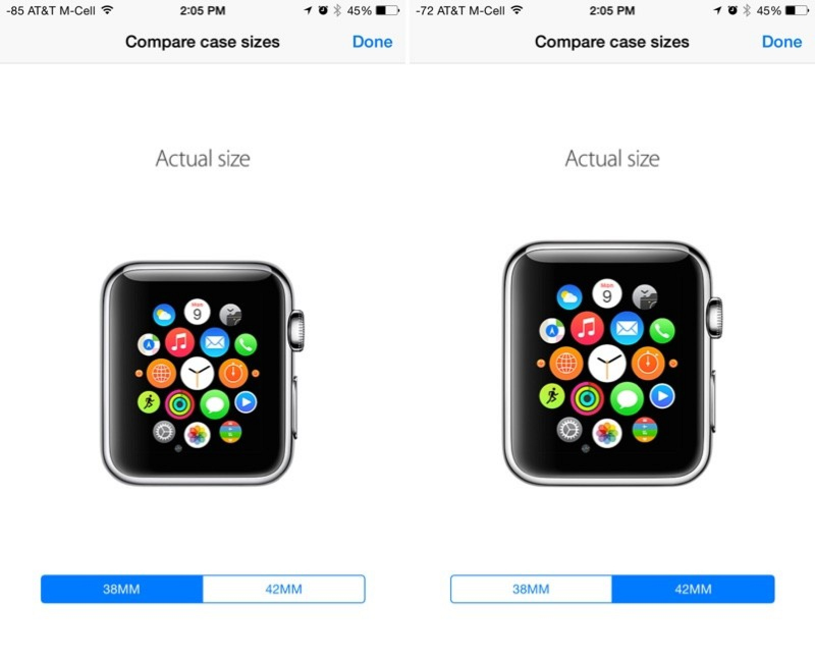Compare Actual Size Apple Watch Models in Apple Store App ...