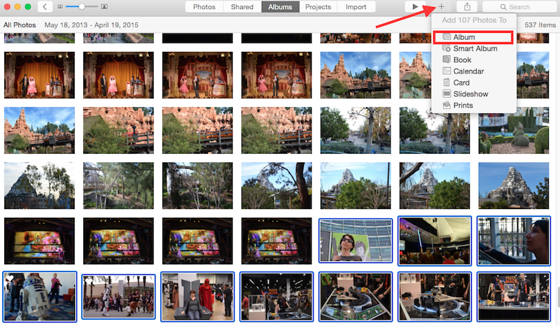 How do i add photos to an album in iphoto