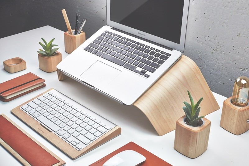 new laptop stand has been created to match a range of other desk accessories including a monitor stand a keyboard case a mouse pad