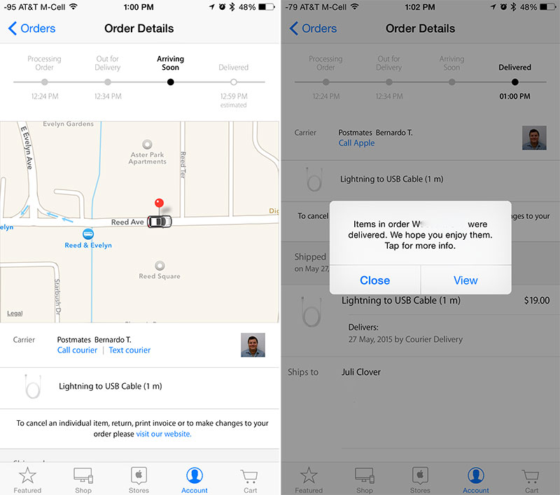 Apple Store App Gains Postmates Integration With Same-Day