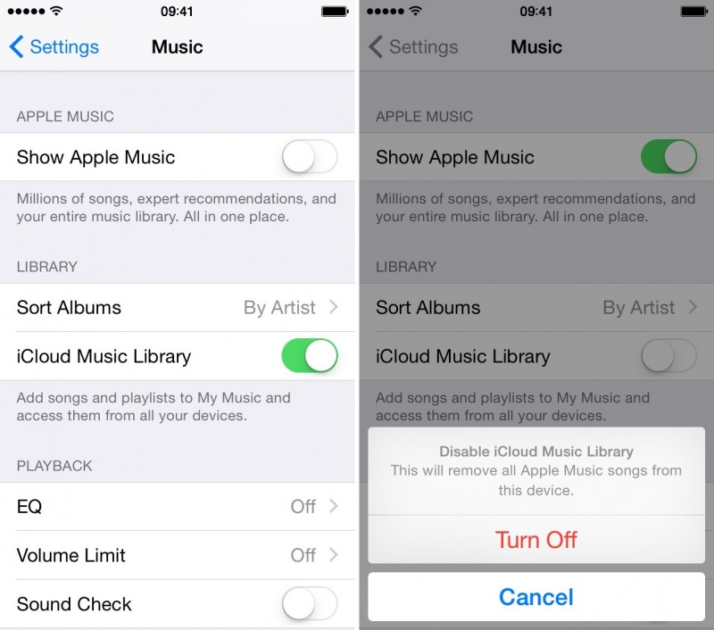 Turn off iCloud and Apple Music