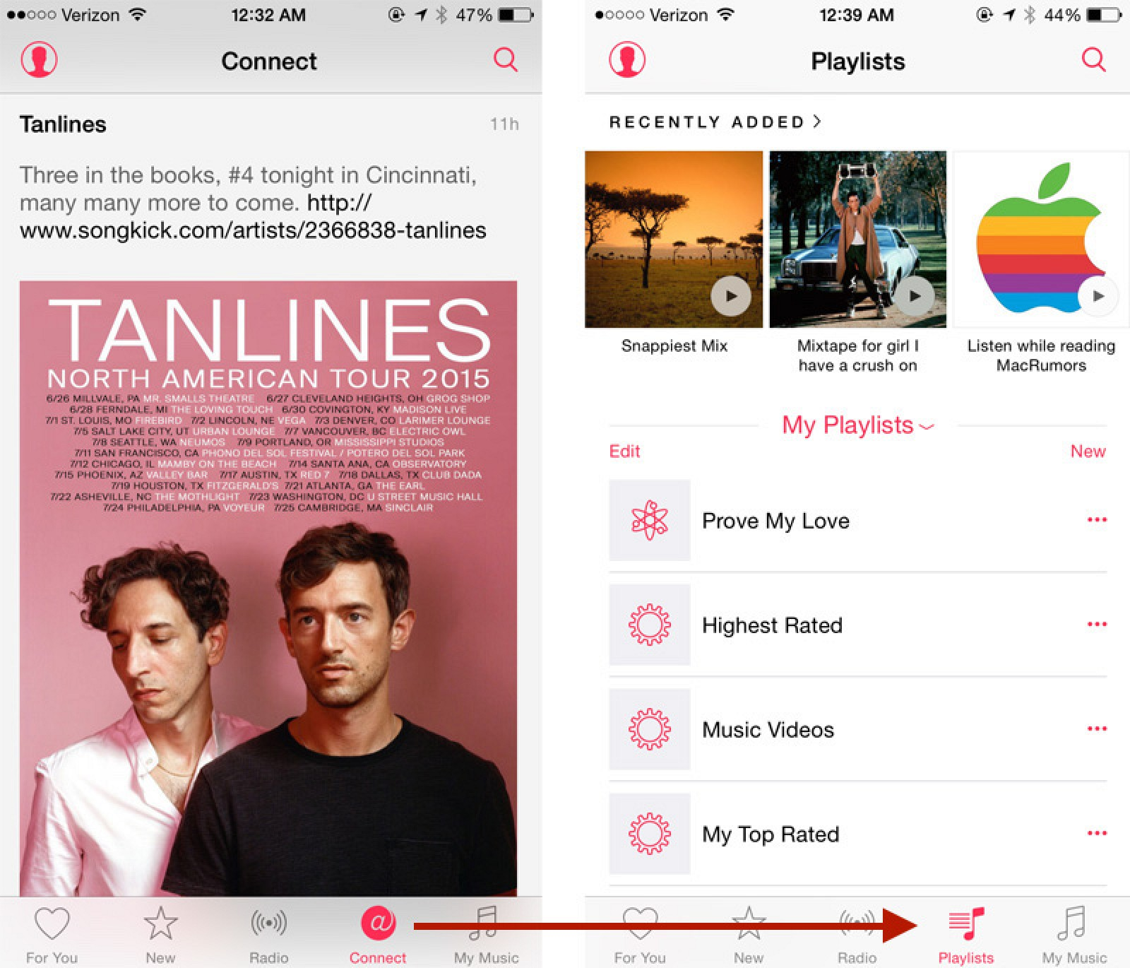 Replace the 'Apple Connect' Tab with a 'Playlists' Tab in Apple