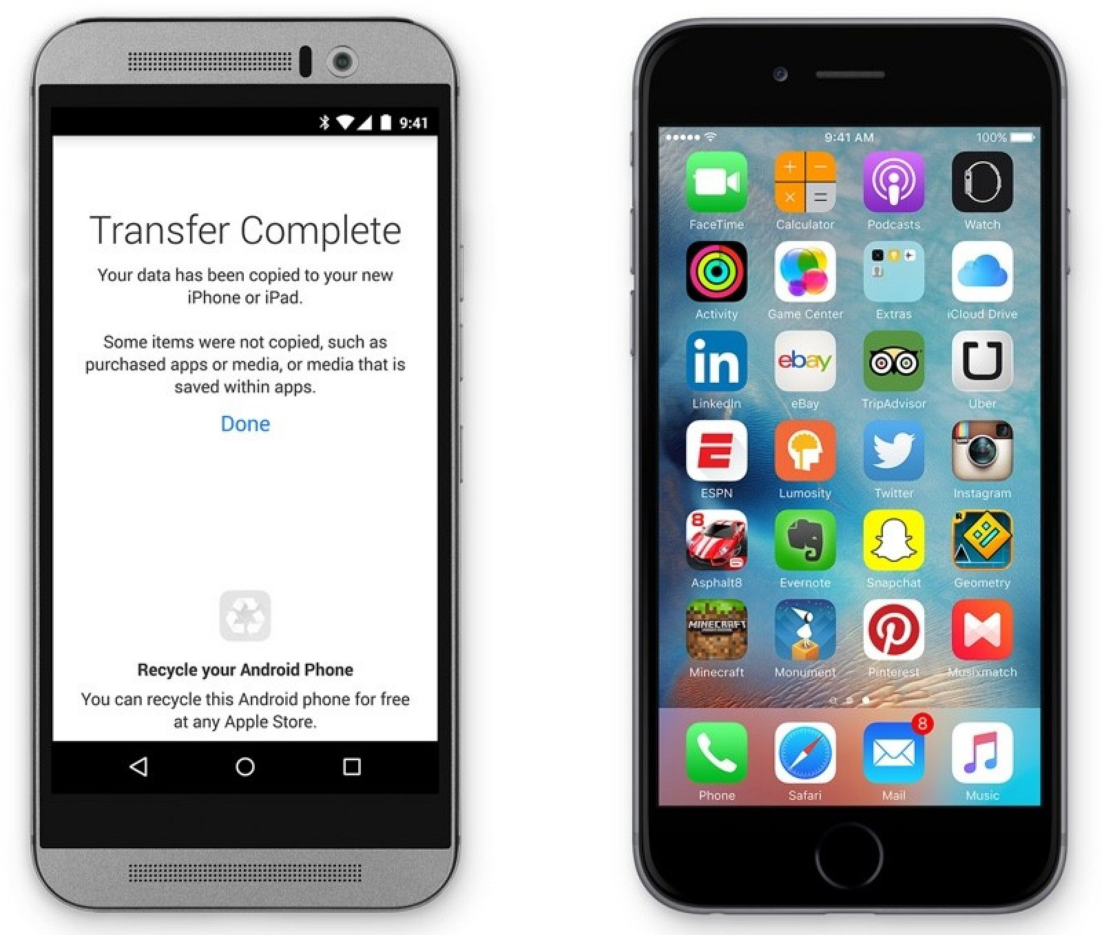 how to send apps from apple to android