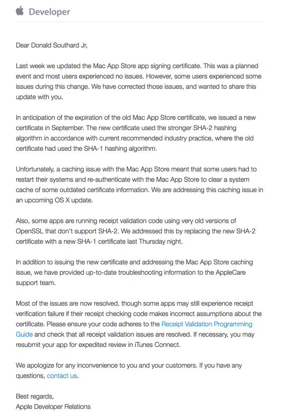Apple Responds To Developers Regarding Expired Mac App Store