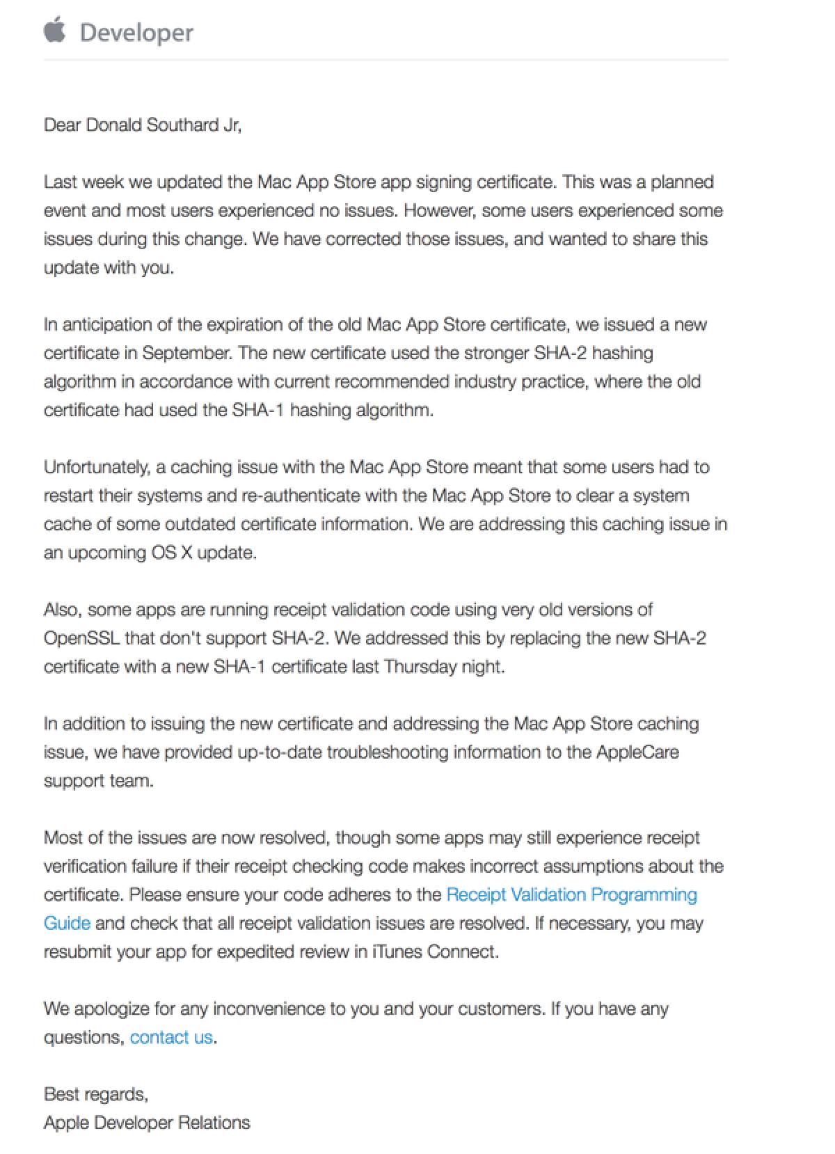 Apple Responds to Developers Regarding Expired Mac App Store