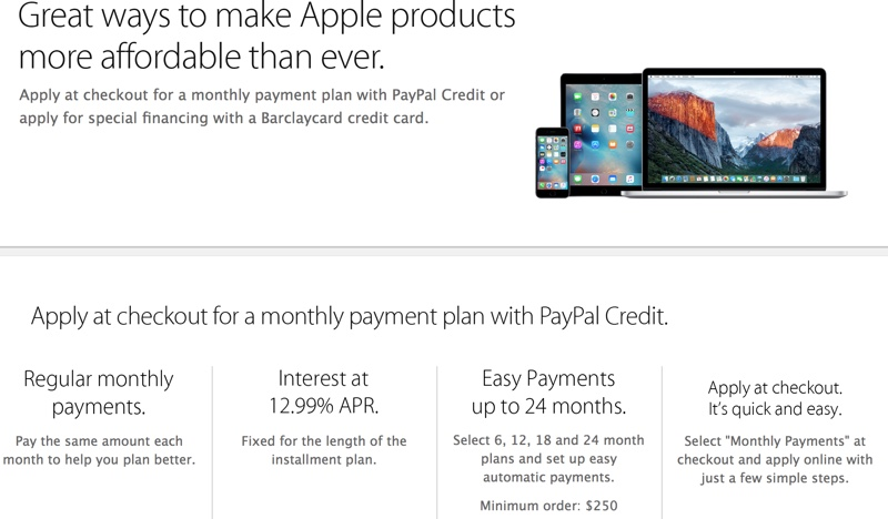 Paypal Payment Plan >> Apple Drops Support For Paypal Credit Payment Plans In U S