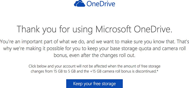 Microsoft Allowing OneDrive Users on Free Tier to Keep 15GB
