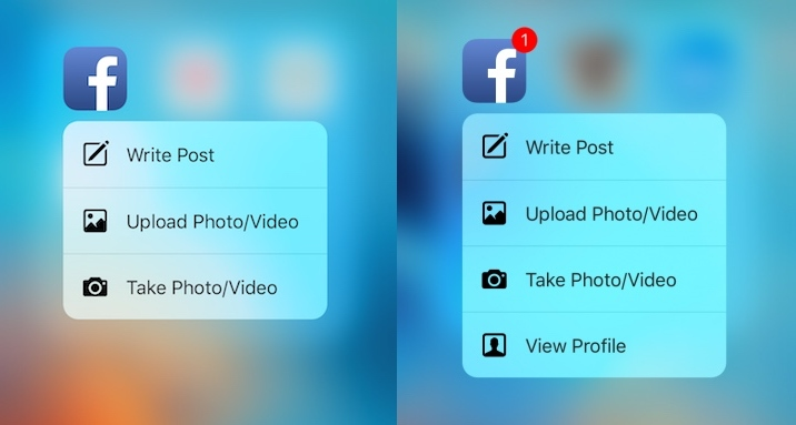 Facebook iOS app Quick Actions