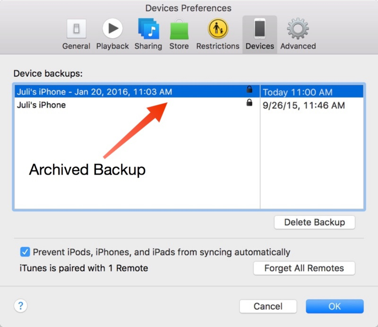 where does itunes store backups on pc