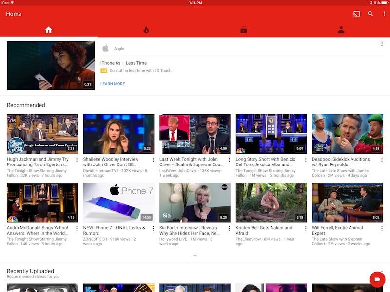 YouTube iOS App Gains Native Resolution on iPad Pro - MacRumors