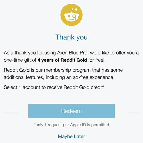 Latest alien blue update gifts pro users with four years of reddit alienbluefreegold negle Image collections