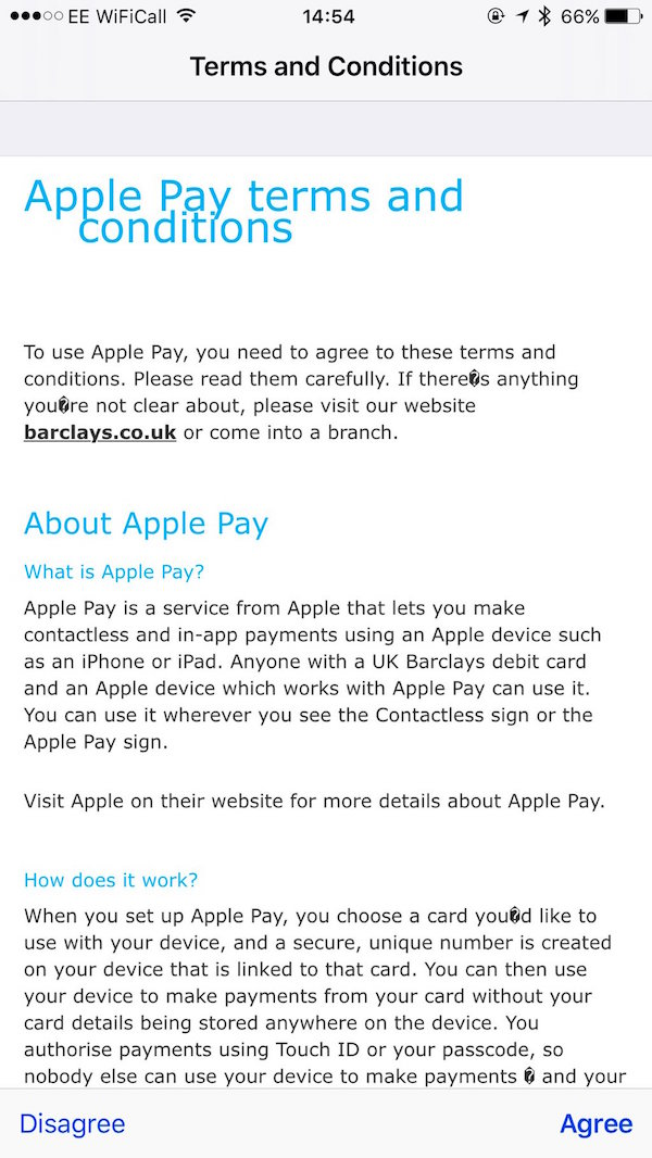 Barclays Now Showing Apple Pay Terms and Conditions [Updated
