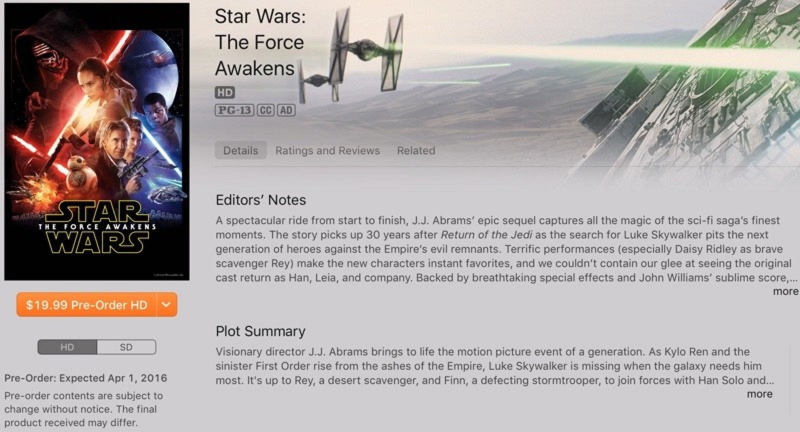 Star wars the force awakens coming to itunes on april 1 mac rumors star wars the force awakens coming to itunes on april 1 mac rumors malvernweather Gallery