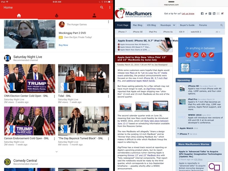 YouTube for iOS Updated With Split Screen Support on iPad - MacRumors