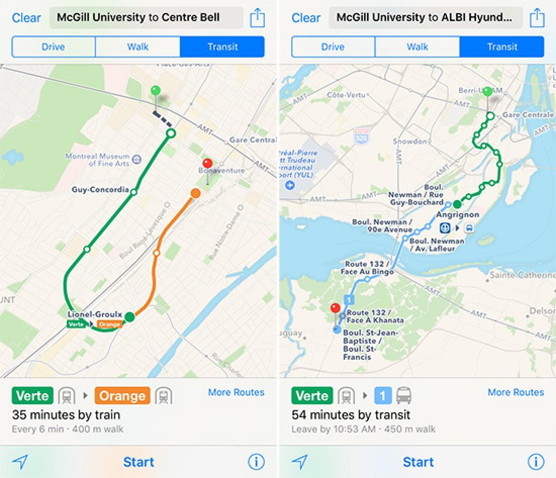 Montrrsl Subway Map.Apple Maps Expands Transit Data To Montreal Macrumors