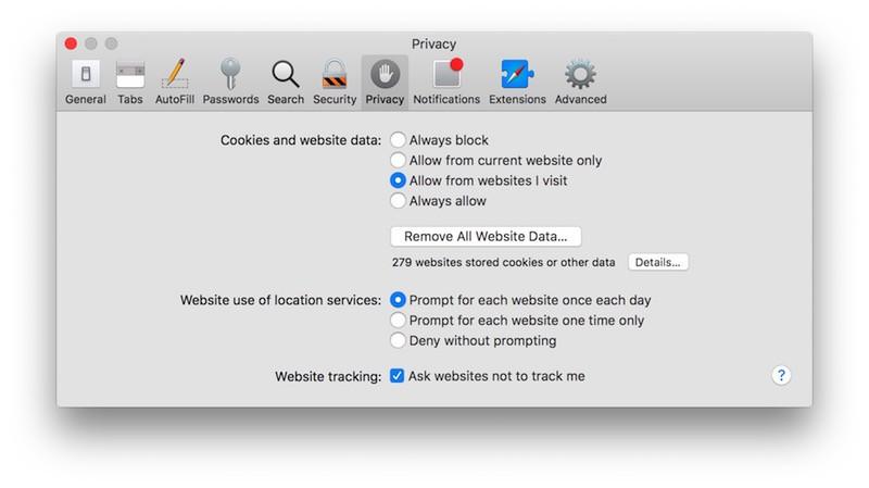 Safari Privacy tab