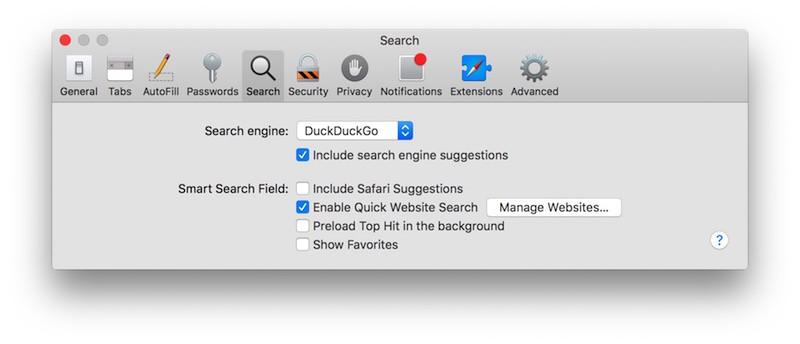Safari Search os x
