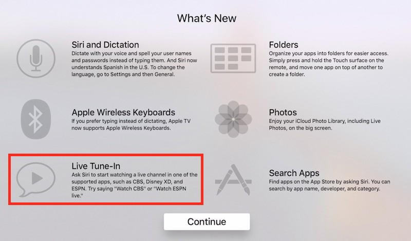 Apple Begins Promoting 'Live Tune-In' Feature on New Apple TV Splash