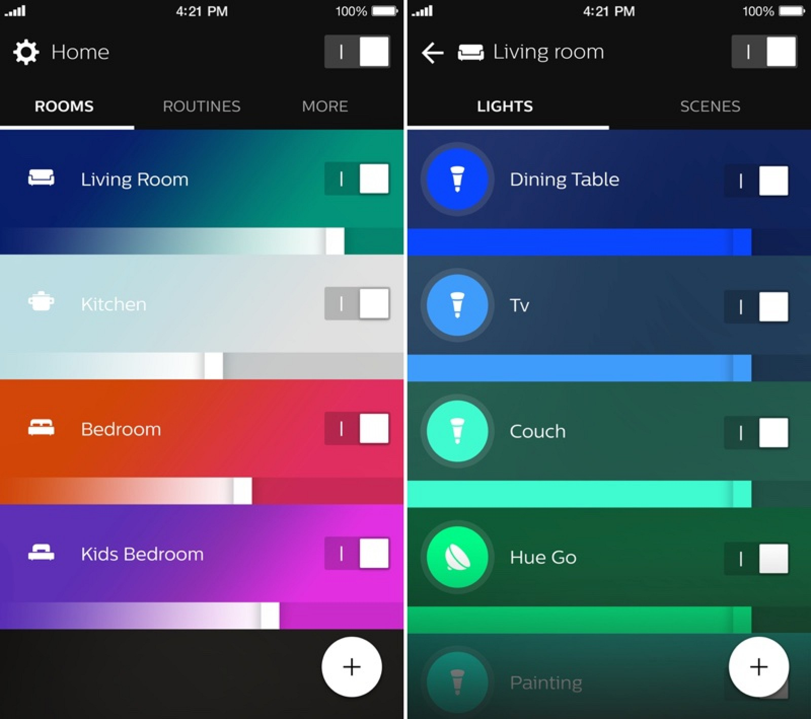 philips launches new 39 hue 39 app with revamped look and support for rooms macrumors. Black Bedroom Furniture Sets. Home Design Ideas