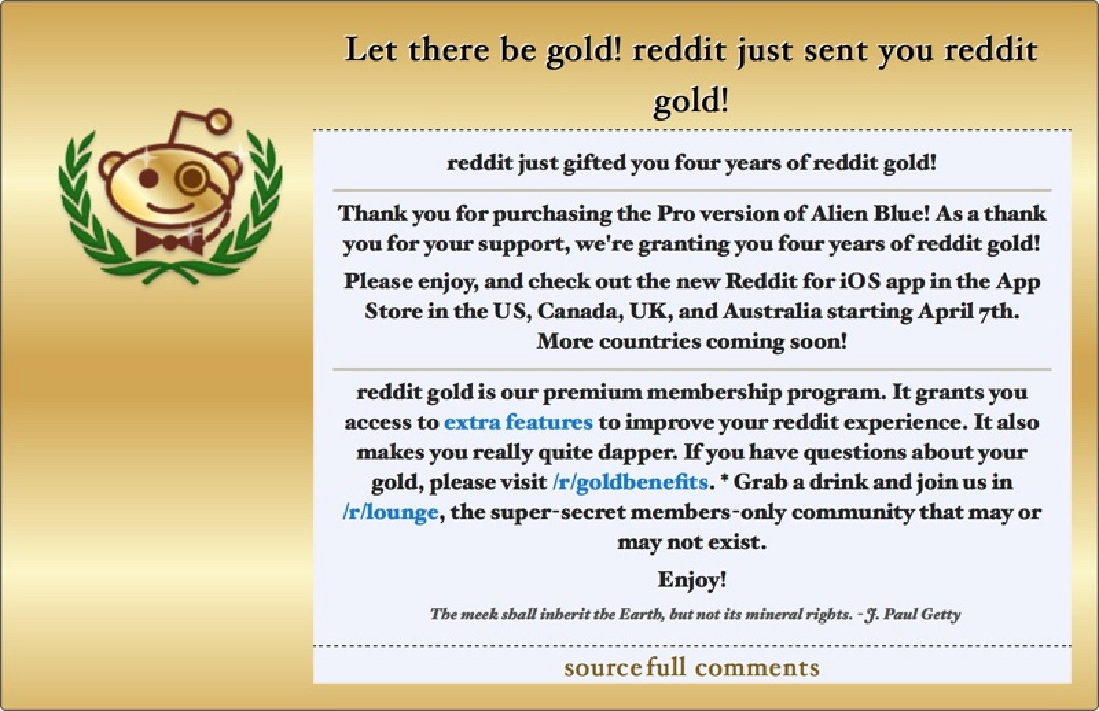 Reddit Gives Gold to Alien Blue Pro Users, Says New App is