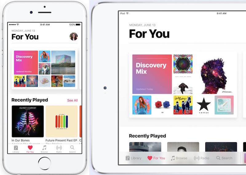 apple music ios 10 update